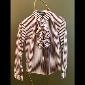 Ralph Lauren Deep Red/ White Stripped Blouse